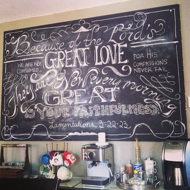 Chalkboard Art Lamentations 3:22-23 | gracelaced.com