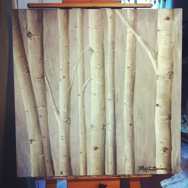 Birch Trees Painting in Warm Grays   gracelaced.com